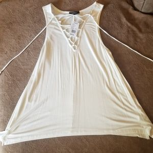 Cream/white lace up tank